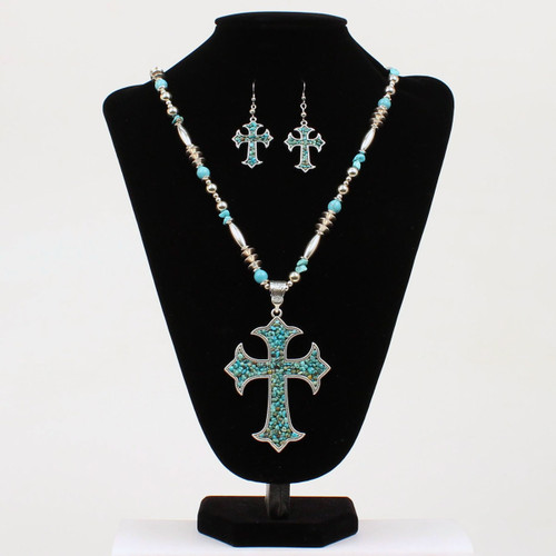 BLAZZIN ROXX CROSS PENDANT TURQUOISE SET - ACCESSORIES JEWELRY SET - 29092