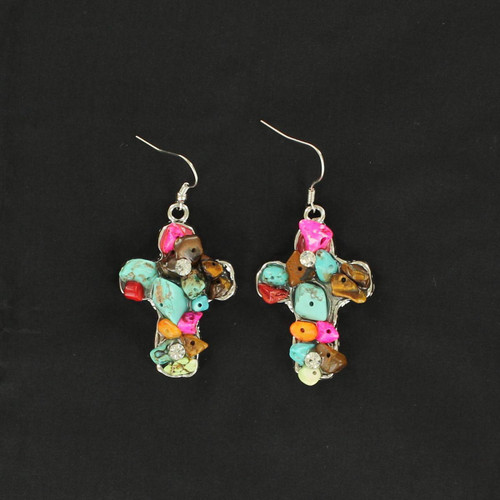 BLAZZIN ROXX MULTI COLOR CHUNKY STONE CROSS - ACCESSORIES JEWELRY EARRINGS - 29578