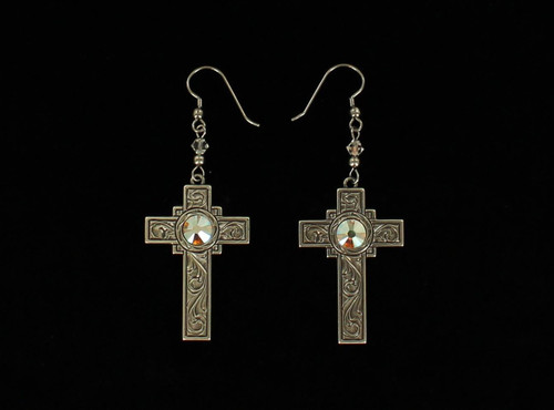 BLAZZIN ROXX ANTIQUE CROSS DROP EARRINGS - ACCESSORIES JEWELRY EARRINGS - 30258