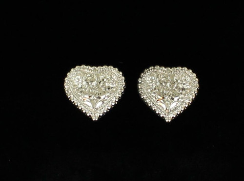 BLAZZIN ROXX ENGRAVED HEART STUD EARINGS - ACCESSORIES JEWELRY EARRINGS - 30282