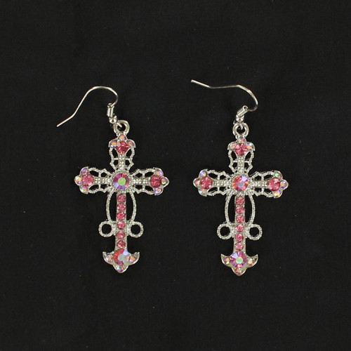 BLAZZIN ROXX PINK RHINESTONES CROSS EARRING - ACCESSORIES JEWELRY EARRINGS - 3031230