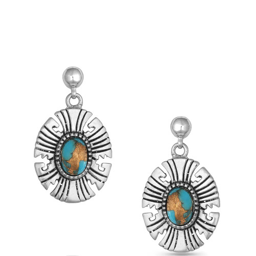 MONTANA SILVERSMITHS GEOMETRIC TURQUOISE DROP - ACCESSORIES JEWELRY EARRINGS - ER4786