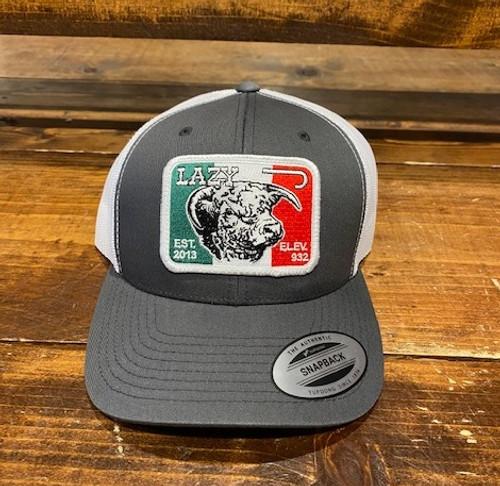 LAZY J MEXICAN BULL PATCH GREY - HATS CAP   - GRYWHT3MELEV