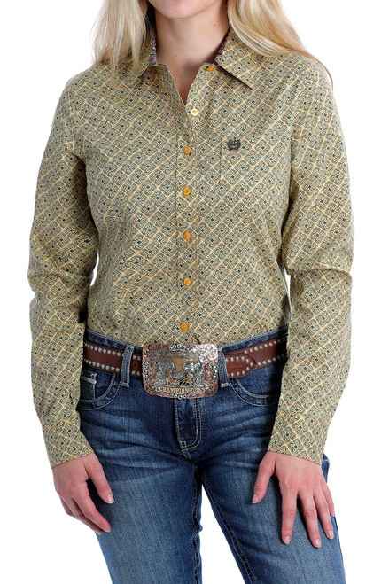 CINCH YELLOW TILE PRINT LONG SLEEVE - LADIES SHIRT   - MSW9164163
