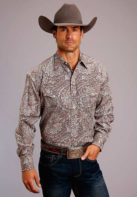 STETSON ORNATE PAISLEY SNAP 2 POCKET - MENS SHIRT   - 11-001-0425-0245RE