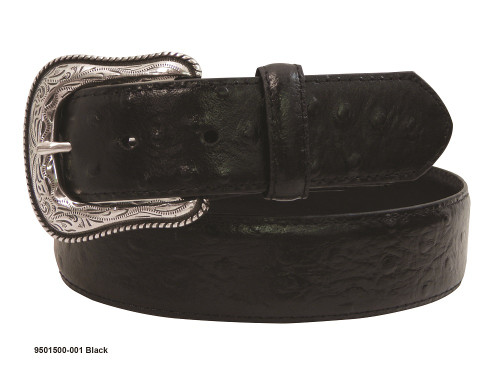 GEMDANDY BLACK OSTRICH PRINT LEATHER - ACCESSORIES BELT MEN - 9501500-001
