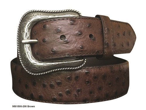 GEMDANDY BROWN OSTRICH PRINT LEATHER - ACCESSORIES BELT MEN - 9501500-200