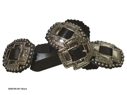 "ROPER 1"" CROSS SLIDE CONCHOS BLACK - ACCESSORIES BELT LADIES - 5406790-001"