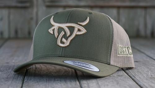 LOST CALF OLIVE GREEN TAN 3D STITCH LOGO - HATS CAP   - FORREST