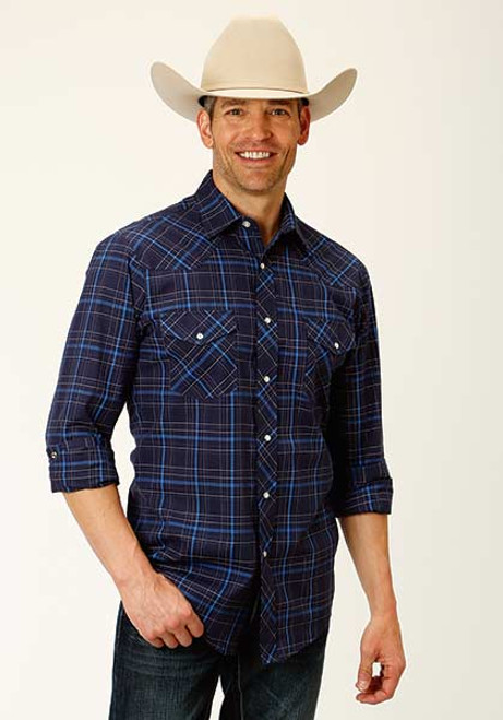 ROPER SNAP 2 POCKET WOVEN PLAID BLUE - MENS SHIRT   - 1-01-101-3041BU