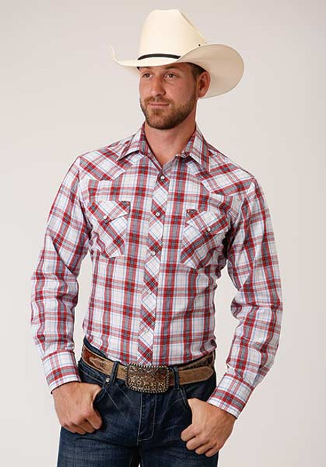 ROPER SNAP PLAID RED BLUE WHITE - MENS SHIRT   - 1-01-101-3044RE