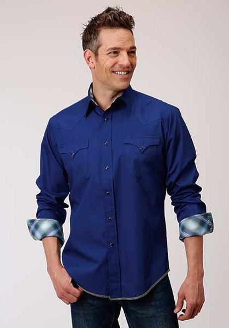 ROPER BRIGHT NAVY SOLID POPLIN - MENS SHIRT   - 03-001-0060-0318BU