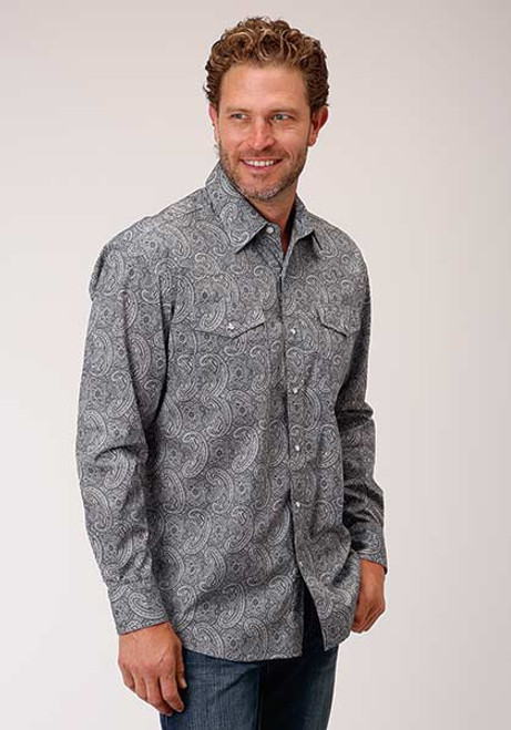 AMARILLO QUARRY PAISLEY GREY - MENS SHIRT   - 3-01-225-0379PU