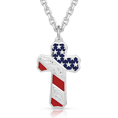 MONTANA SILVERSMITHS BORN IN USA PATRIOTIC CROSS - ACCESSORIES JEWELRY NECKLACE - NC3771
