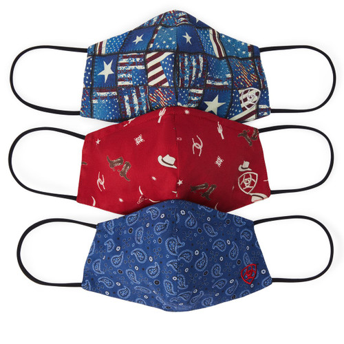 ARIAT FACE MASK AMERICANA 3 PACK - MASK     - 10036706
