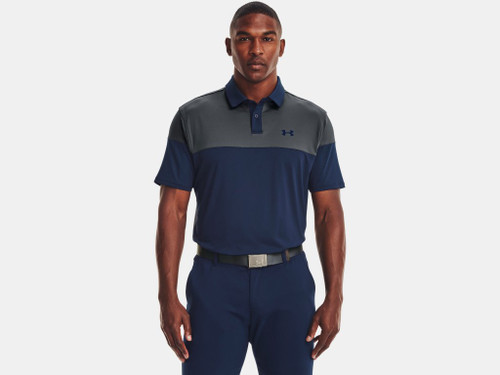 UNDER ARMOUR T2G COLOR BLOCK NAVY GREY - MENS POLO   - 1368121-408