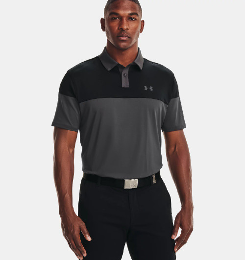 UNDER ARMOUR T2G COLOR BLOCKED GREY BLACK - MENS POLO   - 1368121-010