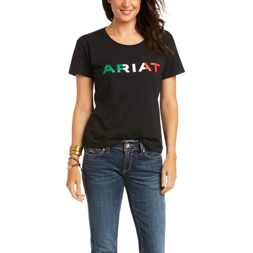 ARIAT VIVA MEXICO LOGO BLACK TEE - LADIES TEE   - 10036634
