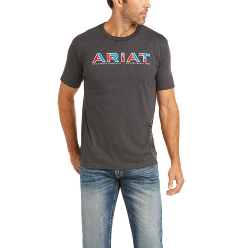 ARIAT LOGO TEE CHARCOAL - MENS TEE   - 10036564