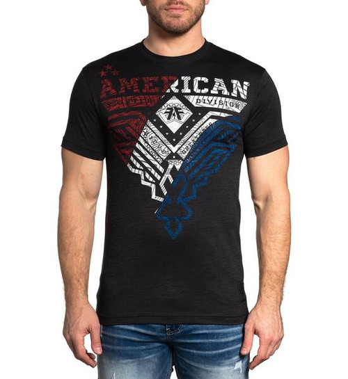 AMERICAN FIGHTER EDGELY PITCH BLACK USA FLAG - MENS TEE   - FM12699