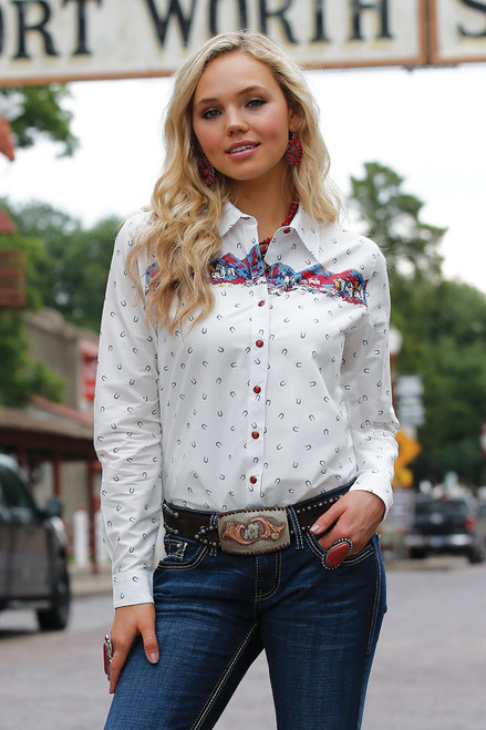 CRUEL GIRL WHITE PRINTED FITTED SNAP - LADIES SHIRT   - CTW7295001