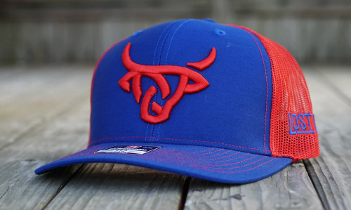LOST CALF RED LOGO BLUE WITH RED MESH - HATS CAP   - ROYAL RED