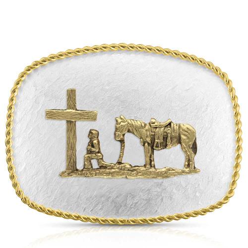 MONTANA SILVERSMITHS RIPPLING WTR CHRISTIAN COWBOY - ACC BUCKLE   - 6509-731