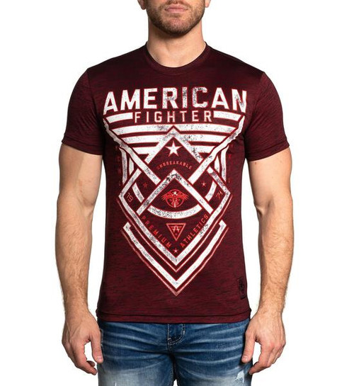 AMERICAN FIGHTER DUSTIN RUSTED RED BLACK - MENS TEE   - FM12609