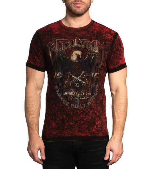 AFFLICTION HIGH SPEED GLORY BLACK RED - MENS TEE   - A23953