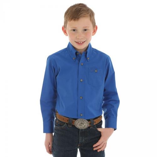 WRANGLER BOYS' CLASSIC BLUE SHIRT - KIDS BOYS SHIRT - BG273BL
