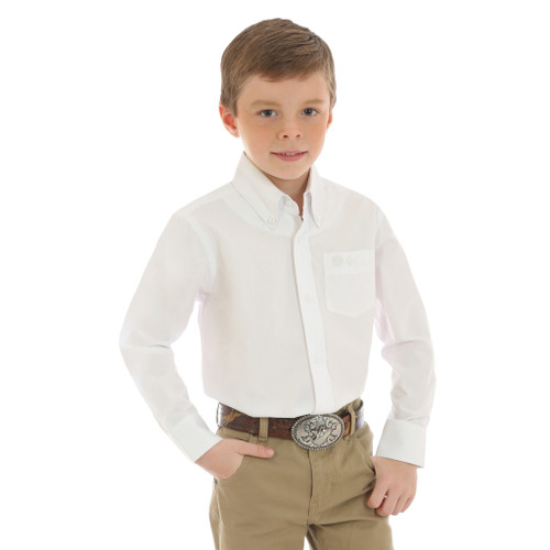 WRANGLER BOYS' CLASSIC WHITE SHIRT - KIDS BOYS SHIRT - BG268WH