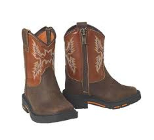 ARIAT LIL' STOMPERS BROWN ORANGE - BOOT KIDS BOYS - A441000002