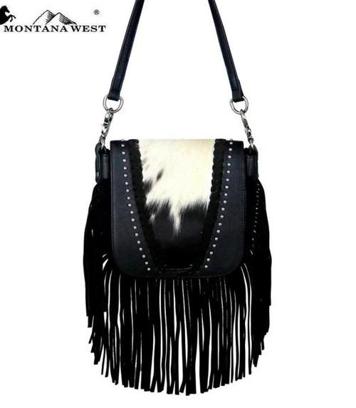 MONTANA WEST HAIR ON COWHIDE CROSSBODY BLK - LADIES PURSES   - RLC-L083BK
