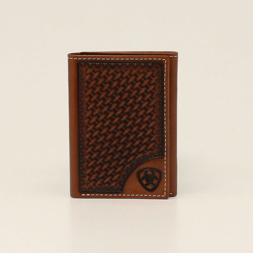ARIAT TRIFOLD BASKETWEAVE SHIELD TAN - ACCESSORIES WALLET   - A3550408