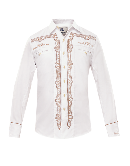 RANGER EMBROIDERED WESTERN SHIRT - MENS SHIRT   - 018CA01-WHITE