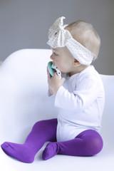 PIma Cotton tights in purple size 0-6 months