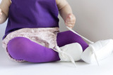 Close up of the Pima Cotton Tights in purple