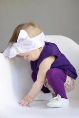 Purple Pima Cotton Tights in action.