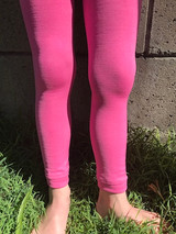 Our pink pima footless tights in action.