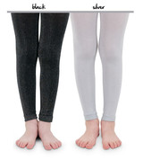 Black and Silver Sparkly Leggings for Kids.
