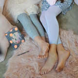 Lux Grey Leggings (left) and the Kids Sparkly Leggings in Silver (right).