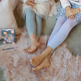 Silver Sparkly leggings for kids (right) and the lux grey ribbed leggings (right).