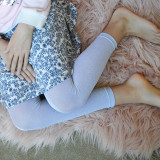 Close up of the Silver Sparkly Kids Leggings.