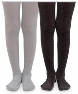 Silver and Black Sparkly Kids Tights