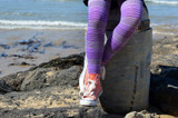 Purple tights in action with pink converse.    Pic credit: Hannah Tyrell Designs