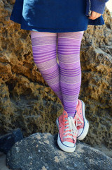 Our purple tights teamed with a cute navy skirt.    Pic credit: Hannah Tyrell Designs