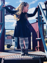 Striped Kids Tights in Black  Pic credit:  https://www.instagram.com/thecapplesisters/