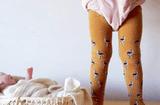 Kids Print Tights in mustard flamingos