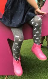 Kids Printed Tights in Grey Horses