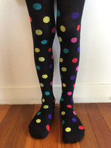 Polka Dot Kids Tights in Navy
